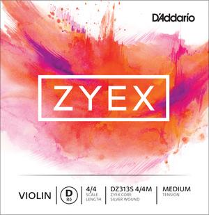 D'Addario Zyex Violin String, D Silver