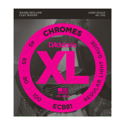 D'Addario Chromes Flat Wound Bass Strings, SET